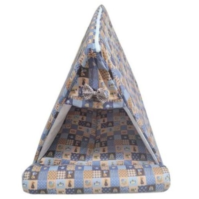 강아지집 퍼피하우스 삼각하우스 플래드 블루