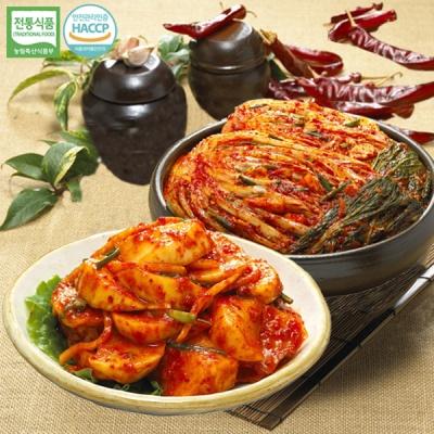[명가김치] 국내산 포기김치 3kg+석박지 3kg