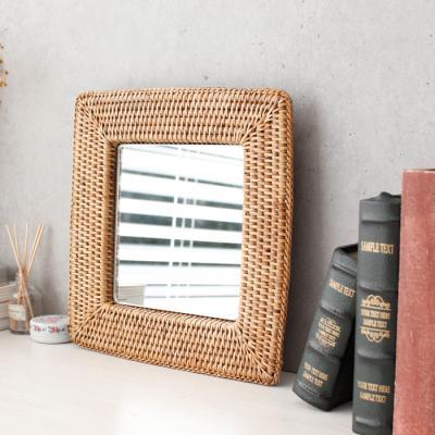 라탄 디자인 거울 - 사각 소