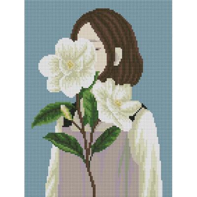 꽃을 든 여인 (캔버스형) 보석십자수 30x40