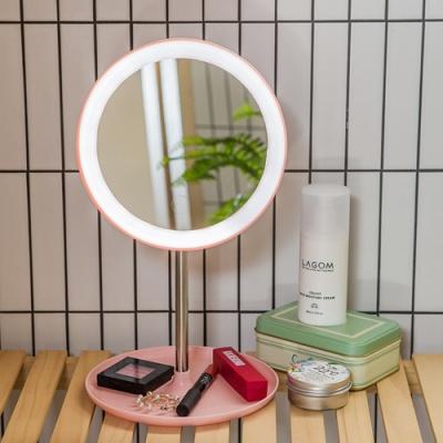 아이린 무선 충전식 LED 화장거울,핑크
