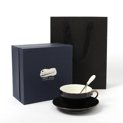 로열트리 물결 커피잔 세트(200ml) (블랙) (쇼핑백포
