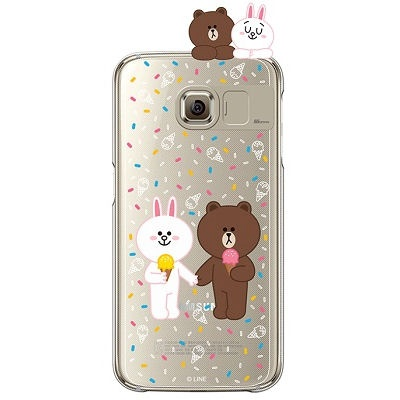 [SG DESIGN] Galaxy S7/ S7 Edge 라인프렌즈 ICE CREAM LIGHT UP Case - GOLD(하드타입/라이팅)