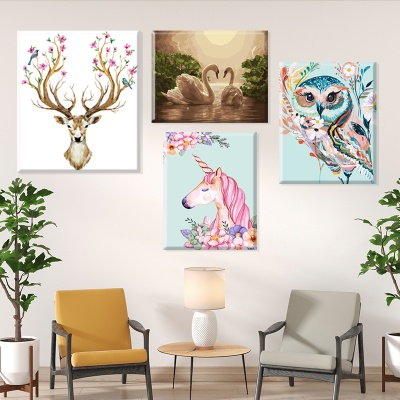 그림그리기 세트 캔버스 동물 부엉이 플라밍고 40x50