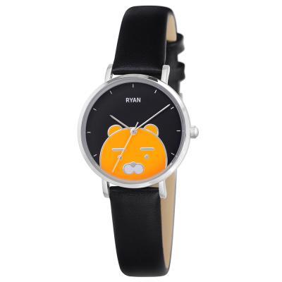카카오프렌즈 슬림 디자인 가죽밴드 손목시계 라이언