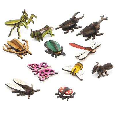3D입체퍼즐 나무퍼즐 곤충시리즈 12종 만들기 수업 놀이키트 장난감 집콕놀이 취미