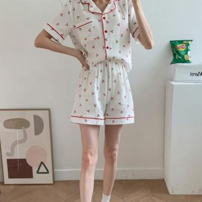 여성 홈웨어 잠옷 세트 파자마 데일리 레이너 앵두