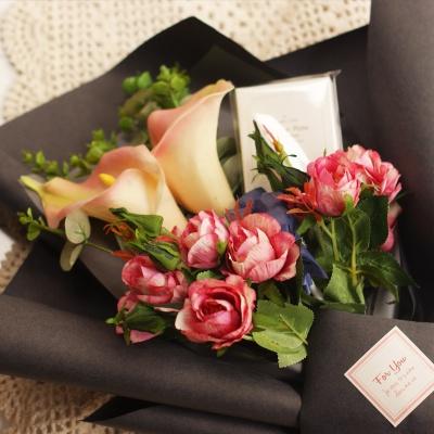 화이트데이 카라&리시안셔스 수제초콜릿 사탕꽃다발