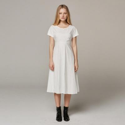 Back Point Basic White Dress