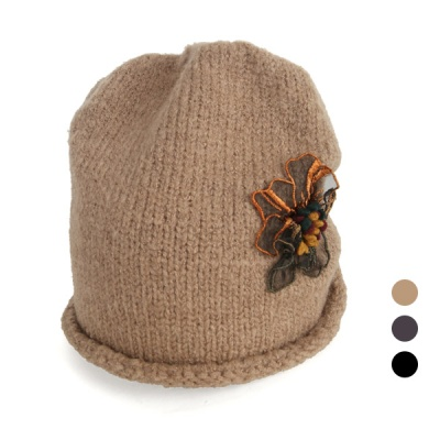 [디꾸보]밑단 말림 플라워 여성 비니 모자 AC425