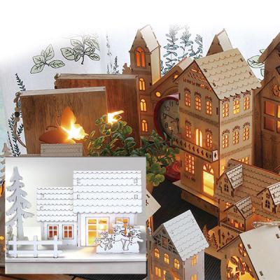 핸드메이드 LED 무드등 취침등 집과나무 화이트하우스