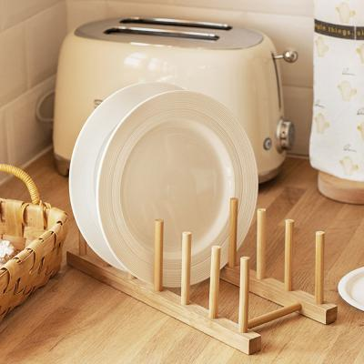 밤부 접시 그릇 수납 꽂이 거치대 정리대 (6칸)
