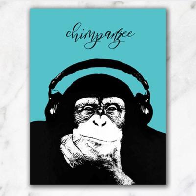 민트 헤드셋 침팬지 팝아트 인테리어액자1