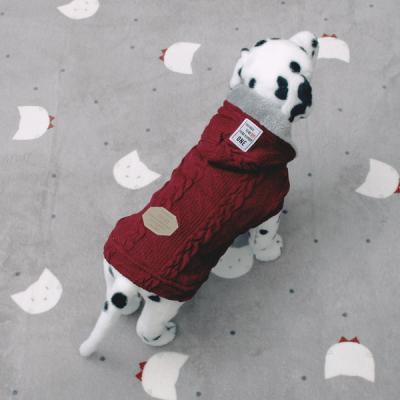 [펫딘]니트 꽈배기 기모안감 강아지옷 조끼 Wine E005