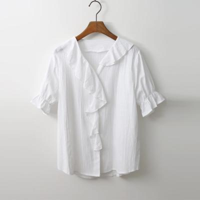 Linen Frill Blouse - 반팔