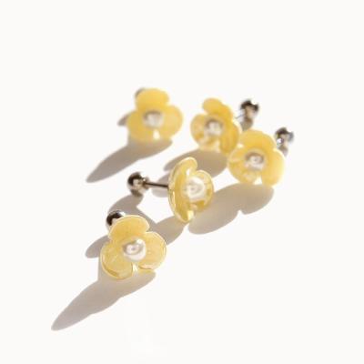 제이로렌 P0367 피어싱 옐로우 진주꽃 피어싱