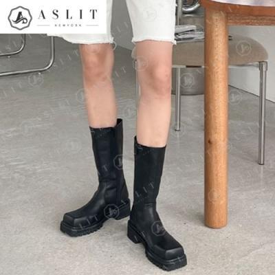 [애슬릿]스퀘어 통굽 여성 지퍼 앵클 부츠 5cm