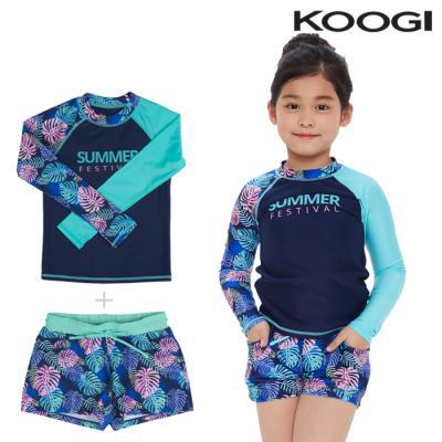 KG-L661+KG-L673 쿠기 여아동 수영복 상하의세트