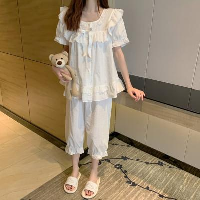 여성 홈웨어 잠옷 세트 파자마 오린 프릴 7부