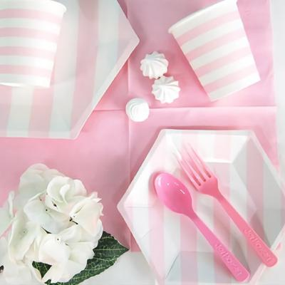 파티접시 20cm 육각 줄무늬 핑크 6입