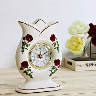 꽃봉오리 로즈 도자기 알람탁상시계