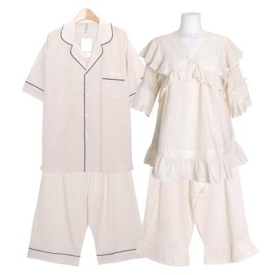 [쿠비카]V넥 스칼렙 자수 투피스 커플잠옷 WM334