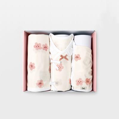 메르베 벚꽃 여름 출산선물세트(저고리+속싸개+모자)