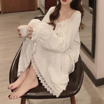 여성 홈웨어 잠옷 세트 파자마 리본 레이스 원피스