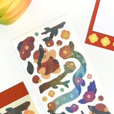동백꽃 오메베어 씰스티커