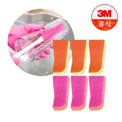 [3M]보틀 수세미용 리필_플라스틱용(1입) 3개+스테인레스용(1입) 3개