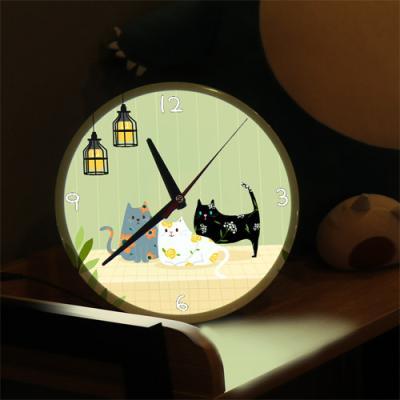 nf307-LED시계액자25R_고양이들의휴식시간