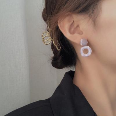 사오미 사각 링 레이어드 여성 귀걸이 925 silver