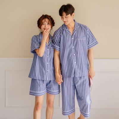 [쿠비카]세로 투라인 배색 투피스 커플잠옷 WM217