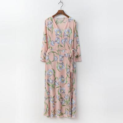Anemone Wrap Long Dress - 긴팔