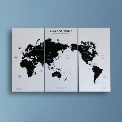 스칸-블랙 세계지도 월데코 3개세트 (아시아중심)