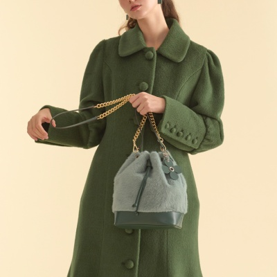 fake fur leather bag_green