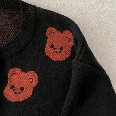 큐피드곰 패턴 니트 가디건(네이비/블랙)