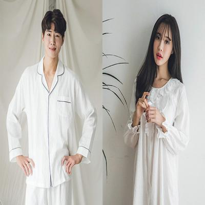 [쿠비카]꼬임 도비면 라운드형 원피스 커플잠옷 WM113