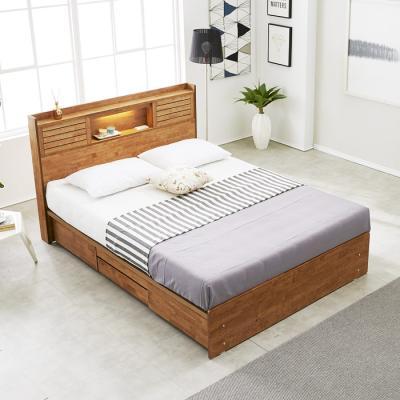 [노하우] 프레시 고무나무원목 LED 4서랍 침대 Q