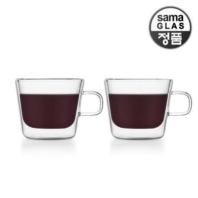 사마글라스 내열유리 찻잔 F010 180ml 2p(이중더블월)