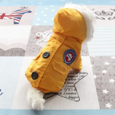 [펫딘]패딩 털후드 점퍼 버튼 강아지옷 아우터 옐로우