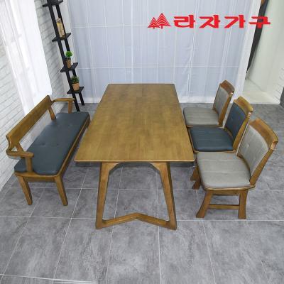 크레 고무나무 원목 6인용 식탁세트 벤치형