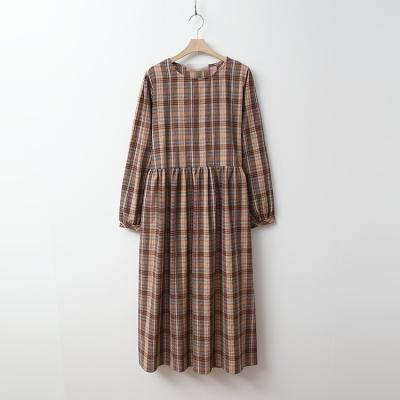 Automne Check Long Dress