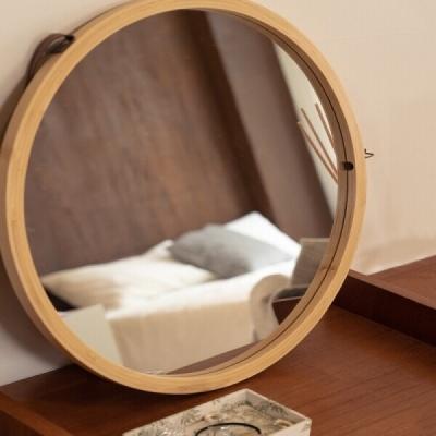 가죽 스트랩 벽걸이 원형 원목 거울