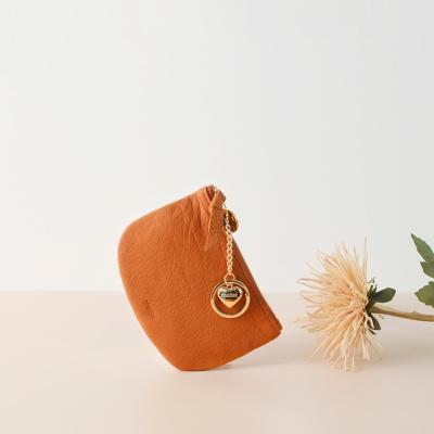 [이니셜 커스텀] Half moon wallet _ Tan