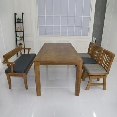 토도 고무나무 원목 식탁세트 벤치형 6인