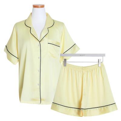 [쿠비카]샤틴 투피스 반팔 3부팬츠 여성잠옷 W471