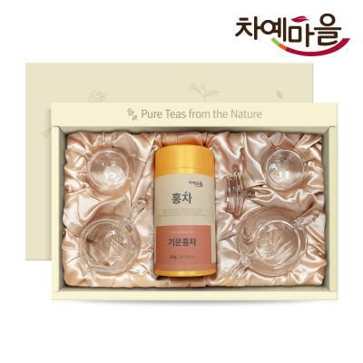 차예마을 퓨어 기문홍차 지함 유리다기 선물세트