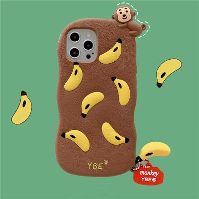 아이폰12 11 PROMAX 원숭이 바나나 키링 실리콘케이스