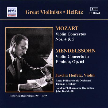 VIOLIN CONCERTOS/ JASCHA HEIFETZ [모차르트 & 멘델스존: 바이올린 협주곡 - 하이페츠]